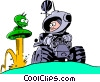 Vector Clipart picture  of a Cartoon spacemen