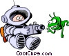 Vector Clip Art image  of a Cartoon spacemen
