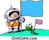 Cartoon spacemen Vector Clip Art image