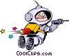 Cartoon spacemen Vector Clipart image