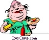 Vector Clip Art image  of a Cartoon food vendor