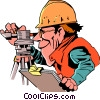 Vector Clip Art image  of a Cartoon surveyor