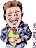 Vector Clipart graphic  of a Car salesman with clipboard