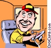 Vector Clip Art graphic  of a Cartoon bus driver