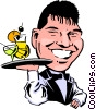 Cartoon waiter Vector Clipart image