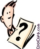 Vector Clipart graphic  of a Cartoon man with question mark