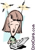 Vector Clip Art picture  of a Cartoon woman with computer