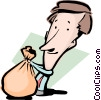 Vector Clipart image  of a Cartoon man with moneybags