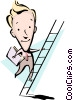 Vector Clipart graphic  of a Cartoon man climbing ladder