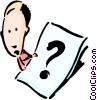 Vector Clipart image  of a Cartoon lady with question