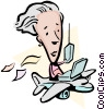 Cartoon lady traveling in an airplane Vector Clip Art picture