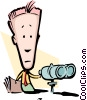 Cartoon man with binoculars Vector Clipart illustration