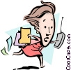 Vector Clipart graphic  of a Cartoon woman running
