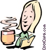 Cartoon woman with a cup of coffee Vector Clipart picture