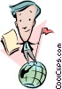 Cartoon man standing on globe Vector Clipart illustration