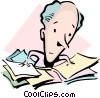 Cartoon man with paperwork Vector Clip Art picture