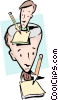 Vector Clipart picture  of a Cartoon man with pencil
