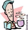 Vector Clipart graphic  of a Cartoon man with cup of coffee