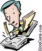 Vector Clip Art picture  of a man with pencil, papers, & computer