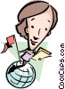Vector Clip Art image  of a Cartoon lady on globe