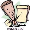 Cartoon man with flip chart Vector Clip Art picture