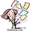 Cartoon lady with papers Vector Clipart image