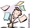 Vector Clipart picture  of a Cartoon man with papers