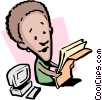 Vector Clip Art image  of a Cartoon lady with paperwork