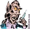 Vector Clip Art image  of a Cartoon wolf man
