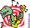 Vector Clip Art graphic  of a Dinosaur playing guitar