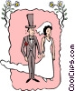 Vector Clip Art graphic  of a Wedding couple