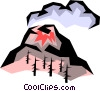 Vector Clip Art graphic  of a Volcanoes