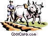 Vector Clip Art image  of a Early American farmer