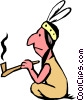 Vector Clipart image  of a Indian with peace pipe