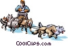 Vector Clip Art image  of a Dog sledding