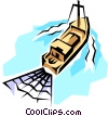 Vector Clip Art image  of a Fishing trawler
