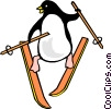 Vector Clip Art picture  of a Penguins skiing