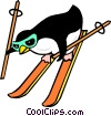 Penguins skiing Vector Clip Art graphic