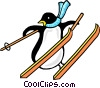 Vector Clip Art graphic  of a Penguins skiing