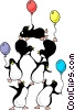 Vector Clip Art image  of a Party penguins