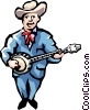 Vector Clipart graphic  of a Banjo player