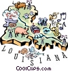 Louisiana vignette map Vector Clipart image