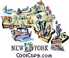 New York vignette map Vector Clipart picture