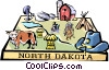 North Dakota vignette map Vector Clip Art image