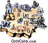Vector Clip Art picture  of a Ohio vignette map