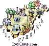 West Virginia vignette map Vector Clipart picture