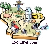 Wisconsin vignette map Vector Clipart illustration