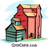 Vector Clip Art image  of a Grain Elevators