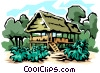 Vector Clip Art picture  of a Jungle house