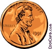 Vector Clip Art picture  of a Lincoln penny